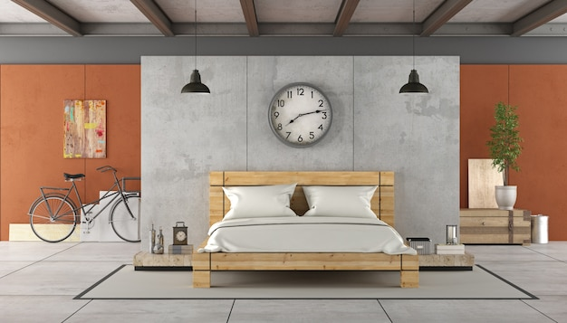 木製ベッド付きのロフトのインテリア。 3dレンダリング