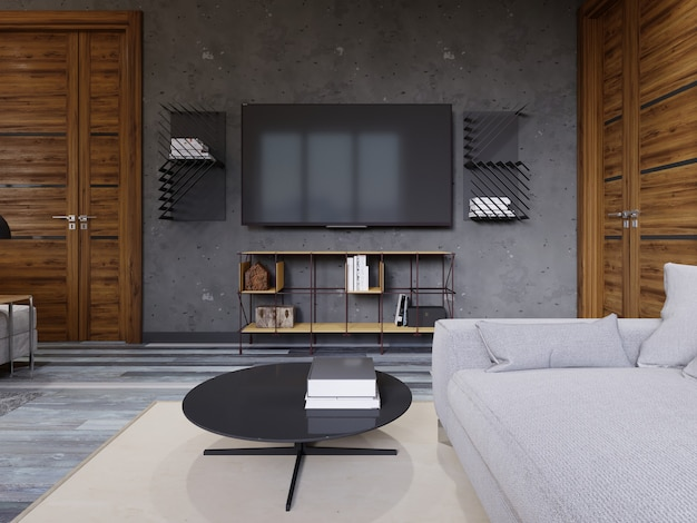 Loft lounge with a yellow designer tv stand and a tv with shelves. 3d rendering.