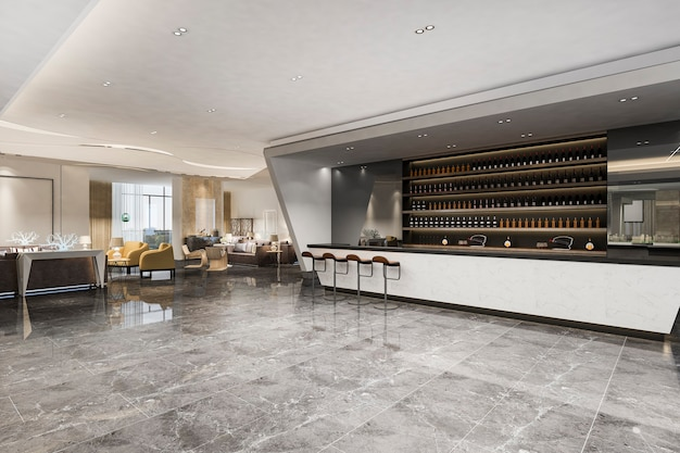 Loft and luxury hotel lounge with counter