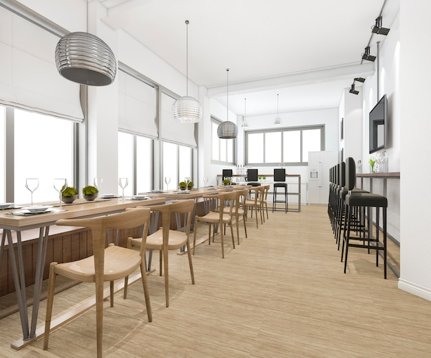 Loft and luxury hotel reception and cafe lounge restaurant