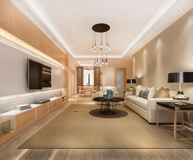 Loft luxury living room with bookshelf near dining table