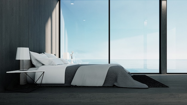 The loft and modern bedroom - sea view for vacation and summer / 3d rendering interior