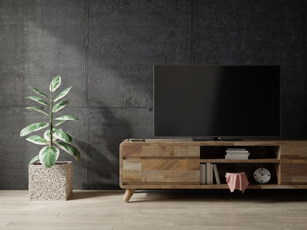 Loft space empty room with tv cabinet on dark concrete interior background.3d rendering