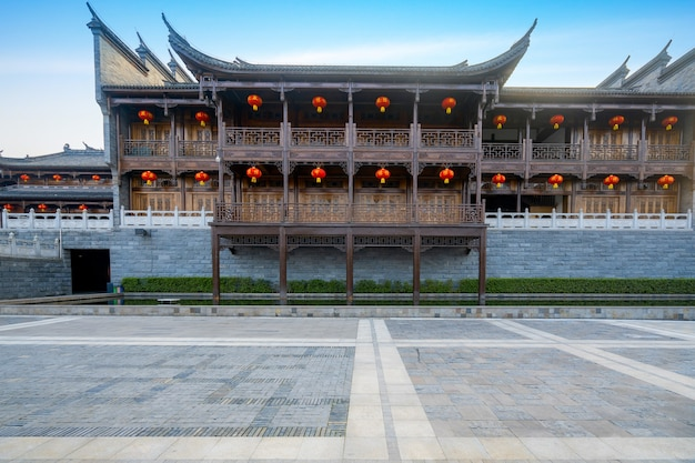 Loft and square of ancient chinese architecture