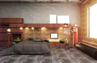 Loft Style Bedroom Interior - Tile loft design. 3D Rendering