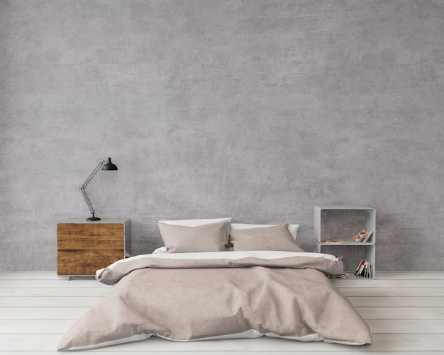 Loft style bedroom with raw concrete