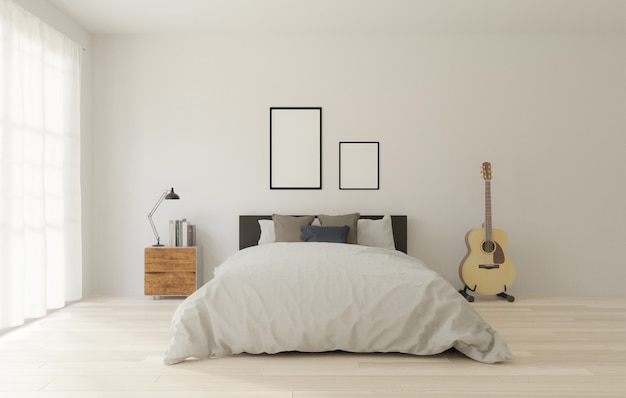 Loft style bedroom with white wall, wooden floor, big window, guitar, frame for mock up