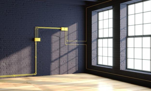 창문이있는 로프트 스타일의 검은 인테리어