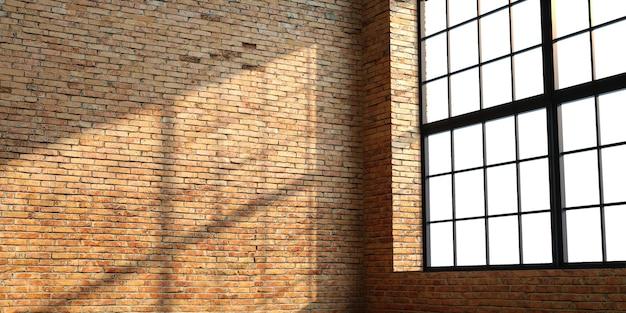 창문이있는 로프트 스타일의 벽돌 인테리어