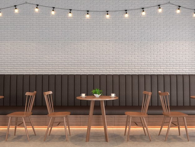 Loft style coffee shop with white brick walls decorate with string lights 3d render