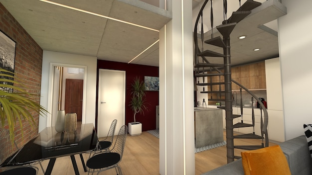 Loft style house of industrial design in the city center