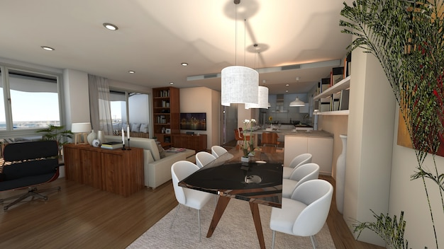 Loft-style house projec 3d rendered