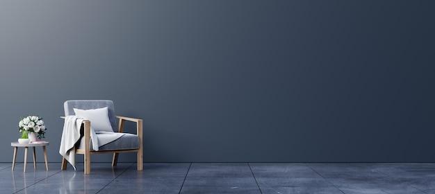 阁楼风格的房子有扶手椅和配件在房间3d渲染