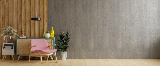 Дом в стиле лофт с креслом и аксессуарами в комнате. 3d визуализация