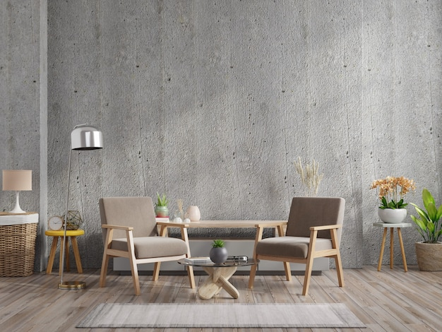 Дом в стиле лофт с креслом и аксессуарами в комнате. 3d рендеринг