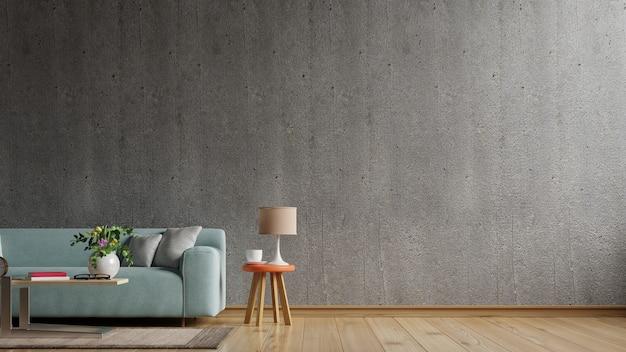 Дом в стиле лофт с диваном и аксессуарами в комнате. 3d визуализация