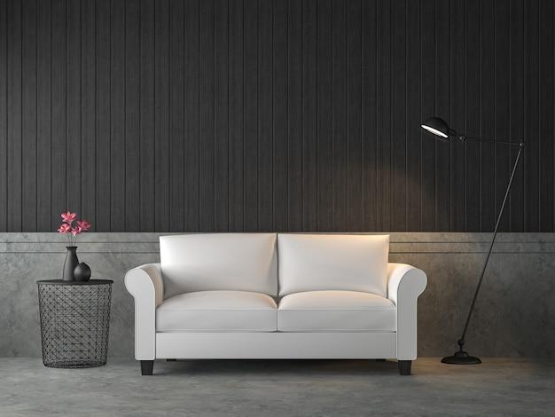 3d визуализация гостиной в стиле лофт, меблирована белым диваном, декорирована лампой в индустриальном стиле.
