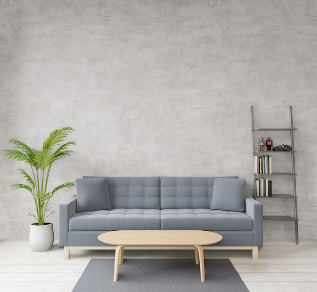 Loft style living room with raw concrete, wooden floor, sofa