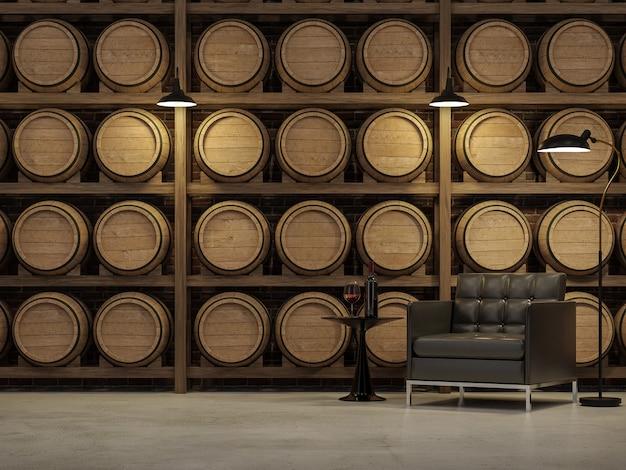 나무 와인 배럴 배경 3d 렌더가 있는 로프트 스타일의 거실은 가죽 의자로 장식되어 있습니다.