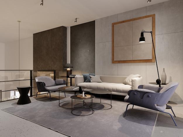 소파, 안락의자 2개 및 장식이 있는 로프트 스타일의 라운지 공간입니다. 세부 사항이 있는 디자이너 콘크리트 벽입니다. 유리가 있는 금속 난간. 3d 렌더링.