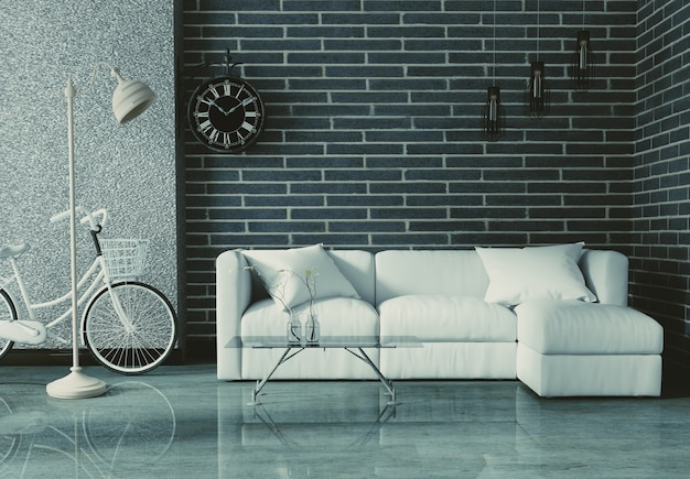 Loft style stone and brick wall modern interior decoration empty room. 3d rendering
