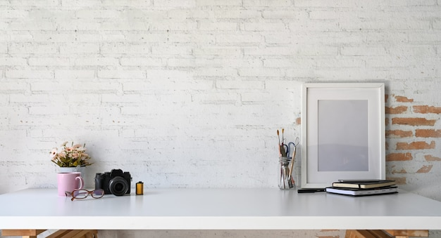 Loft wood workplace mockup poster and copy space