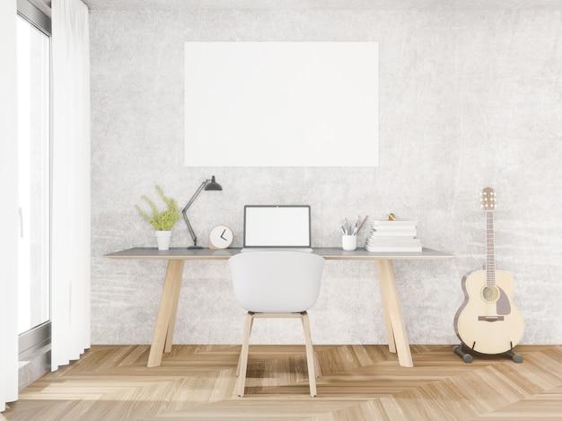 Loft working space, copy space, 3d rendering