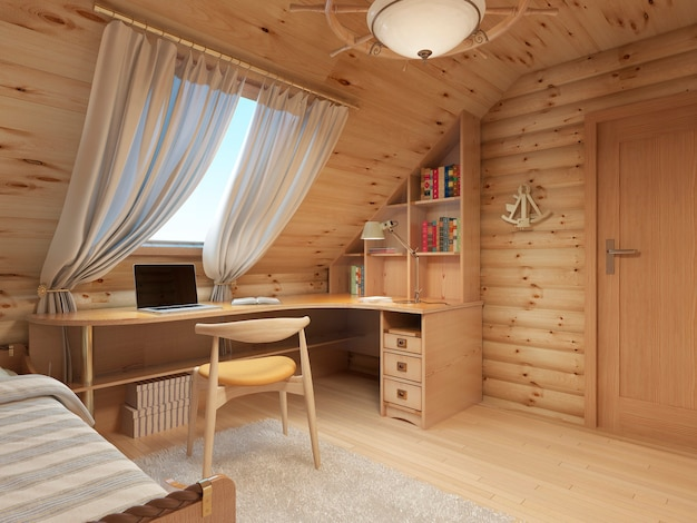 Log interior room for a teenager from the timber in a marine style and decor