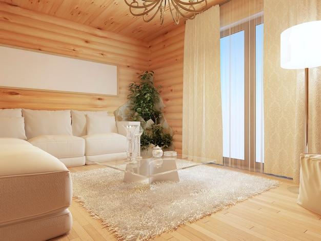 Интерьер гостиной из бревна в современном стиле с диваном и большим окном