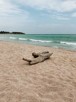 白い砂浜の海の青いアクアマリンの波のラインにログオンします。ソフトウェーブオーシャンフォーム。自然な背景の空