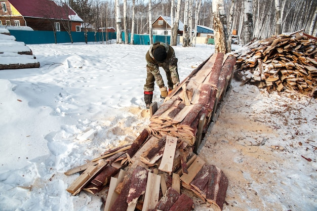 Logger saws a tree in the forest in winter, russia for firewood