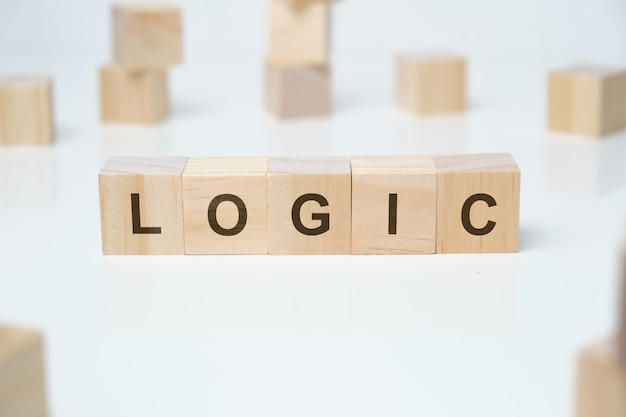 Logic word on wooden blocks