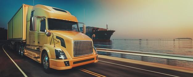 コンテナ貨物船の物流と輸送。
