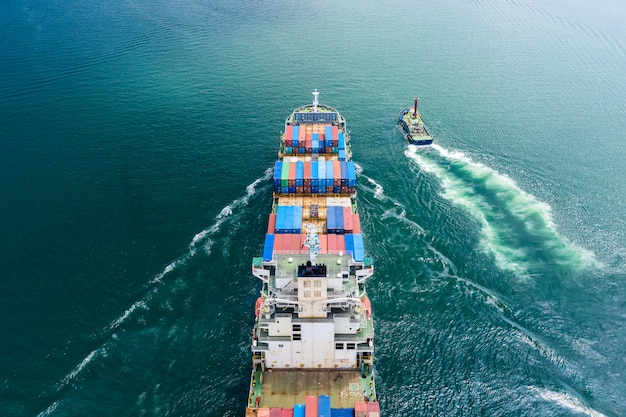 Logistics business transportation by ship flight open sea service import and export cargo international