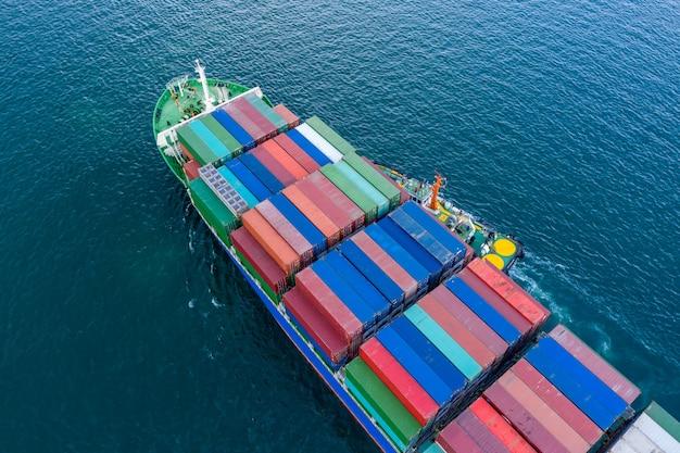 Logistics business transportation by ship flight open sea service import and export cargo international