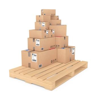 Концепция логистики. картонные коробки на деревянной палитре на белой предпосылке. 3d-рендеринг.