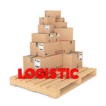 ロジスティクスの概念。白い背景の上のロジスティックサインと木製パレットの段ボール箱。 3dレンダリング。