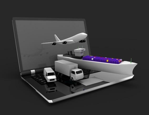 물류 개념입니다. 노트북, 비행기, 배, 트럭. 3d 렌더링 된 그림 프리미엄 사진