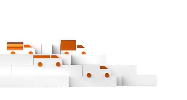 흰색 상자 및 자동차 트럭 장난감 모델 운송 그림의 물류 생성자 구성