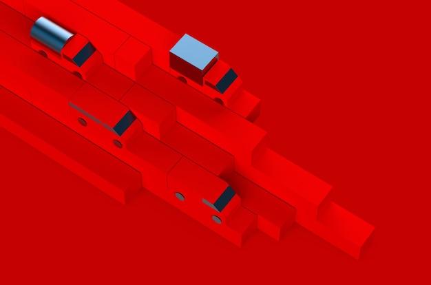 빨간색 상자 및 자동차 트럭 모델 운송 광고의 물류 생성자 기하학 구성