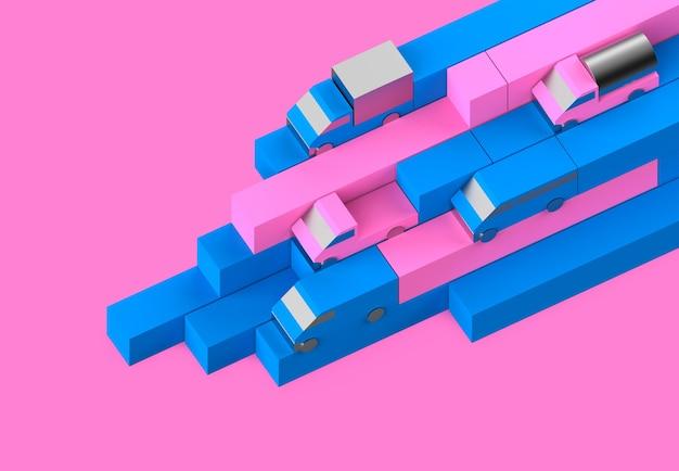 핑크 컬러 트럭 장난감 운송 광고 그림의 물류 생성자 형상