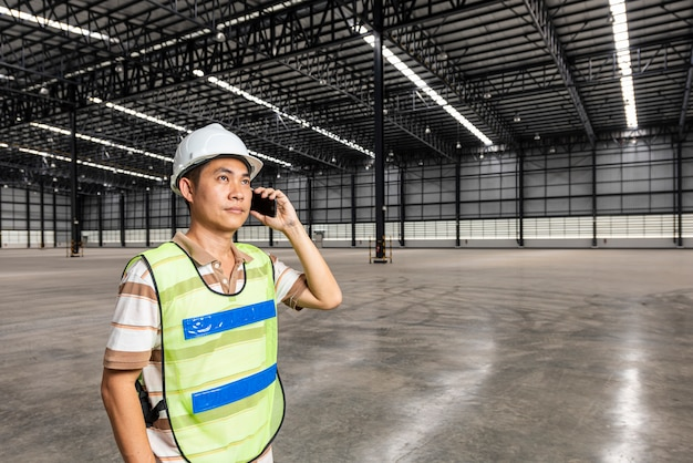 Logistics engineer in modern warehouse