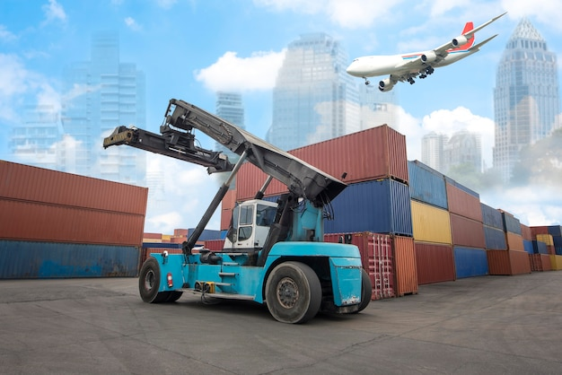Logistics import export background and transport industry of forklift handling container box loading