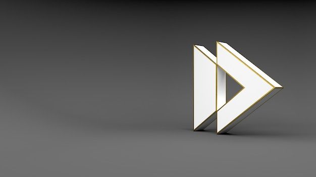 Logo arrow button on gray background with gold edging and soft shadows. 3d rendering.
