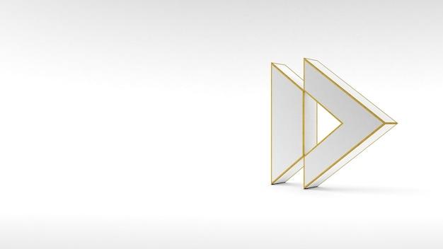 Кнопка со стрелкой логотипа на белой поверхности с золотой окантовкой и мягкими тенями