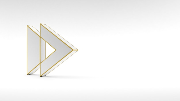 Logo arrow button on white background with gold edging and soft shadows. 3d rendering.