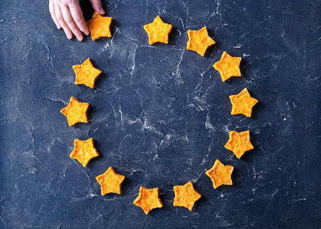 Logo of the european union of sweet carrot stars cookies
