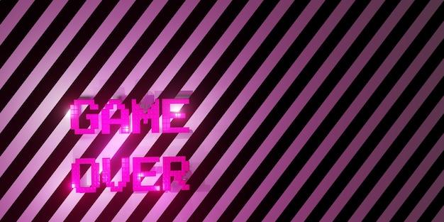 Logo game over neon laser color alphabet glow effect fun and joyful 3d illustration