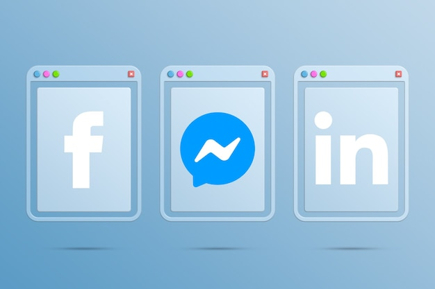 Logo icon facebook linkedin and messenger on browser windows 3d