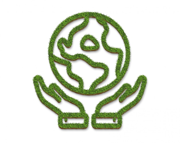 Logo or icon hands embracing the earth from the green grass surface